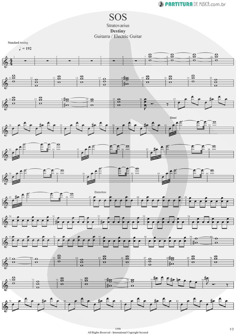 Partitura de musica de Guitarra Elétrica - SOS | Stratovarius | Destiny 1998 - pag 1