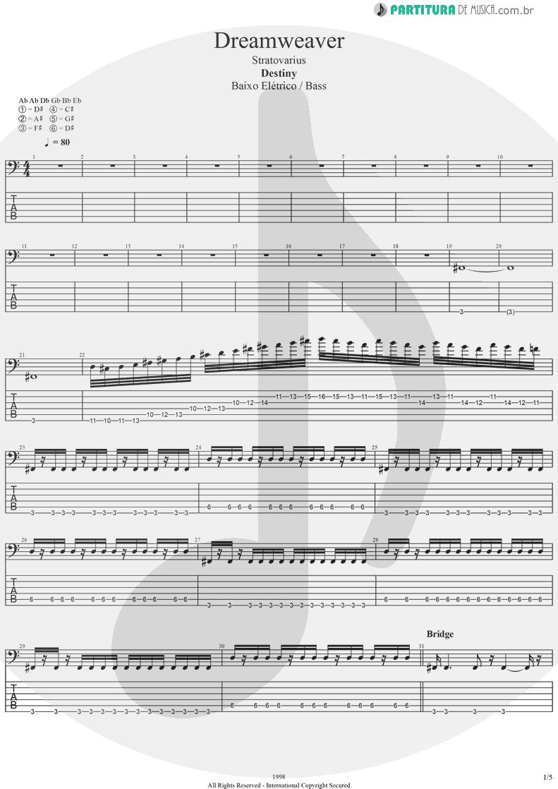 Tablatura + Partitura de musica de Baixo Elétrico - Dreamweaver | Stratovarius | Elements, Pt. 2 1998 - pag 1
