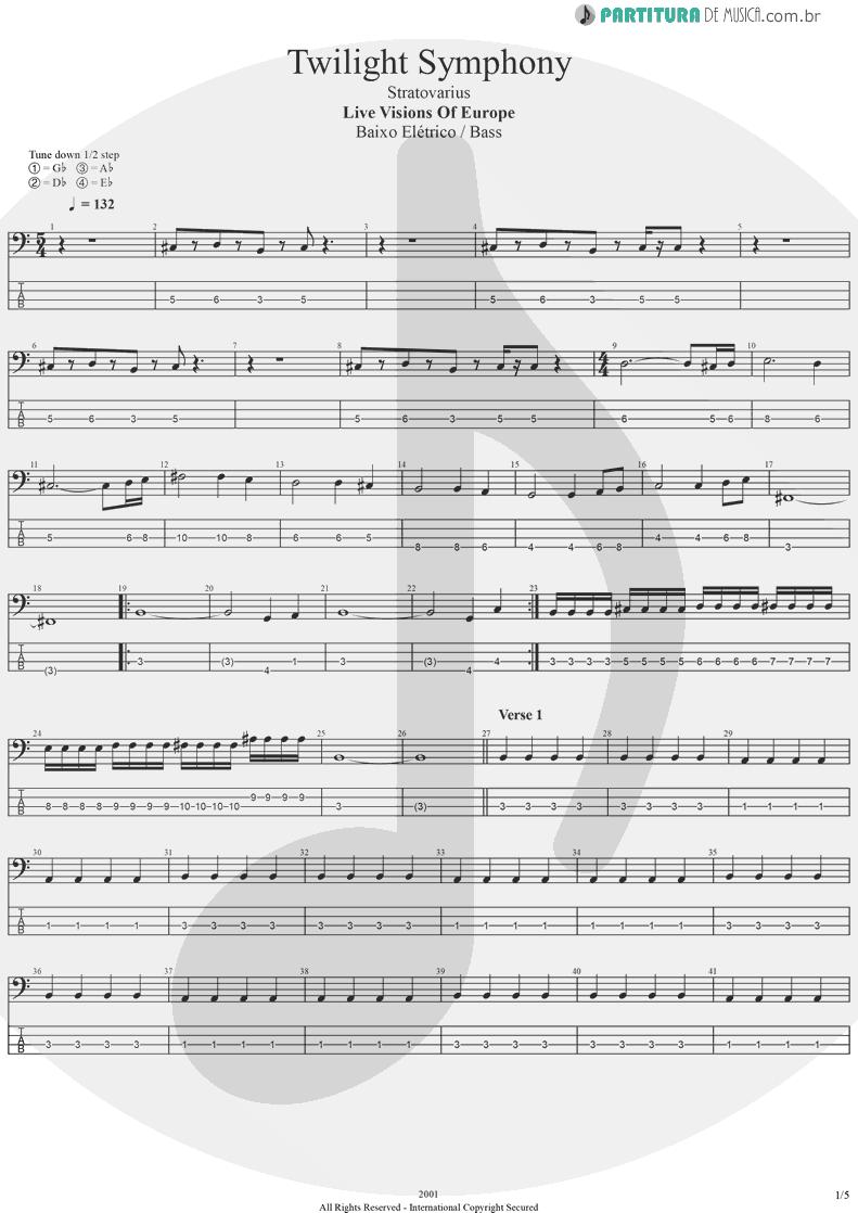 Tablatura + Partitura de musica de Baixo Elétrico - Twilight Symphony   Stratovarius   Live Visions Of Europe 2001 - pag 1