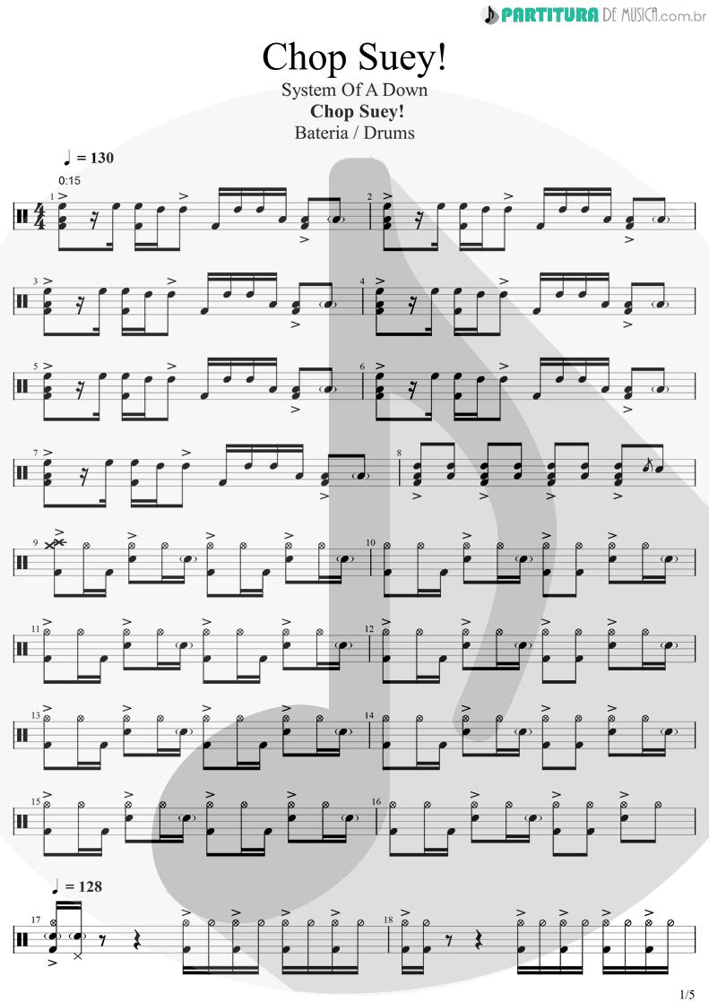 Partitura de musica de Bateria - Chop Suey! | System Of A Down | Toxicity 2001 - pag 1