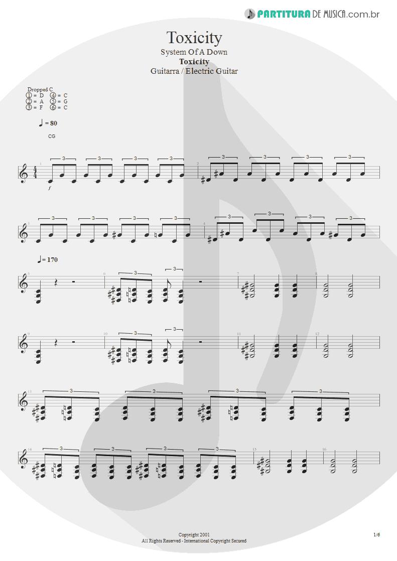 Partitura de musica de Guitarra Elétrica - Toxicity | System Of A Down | Toxicity 2001 - pag 1