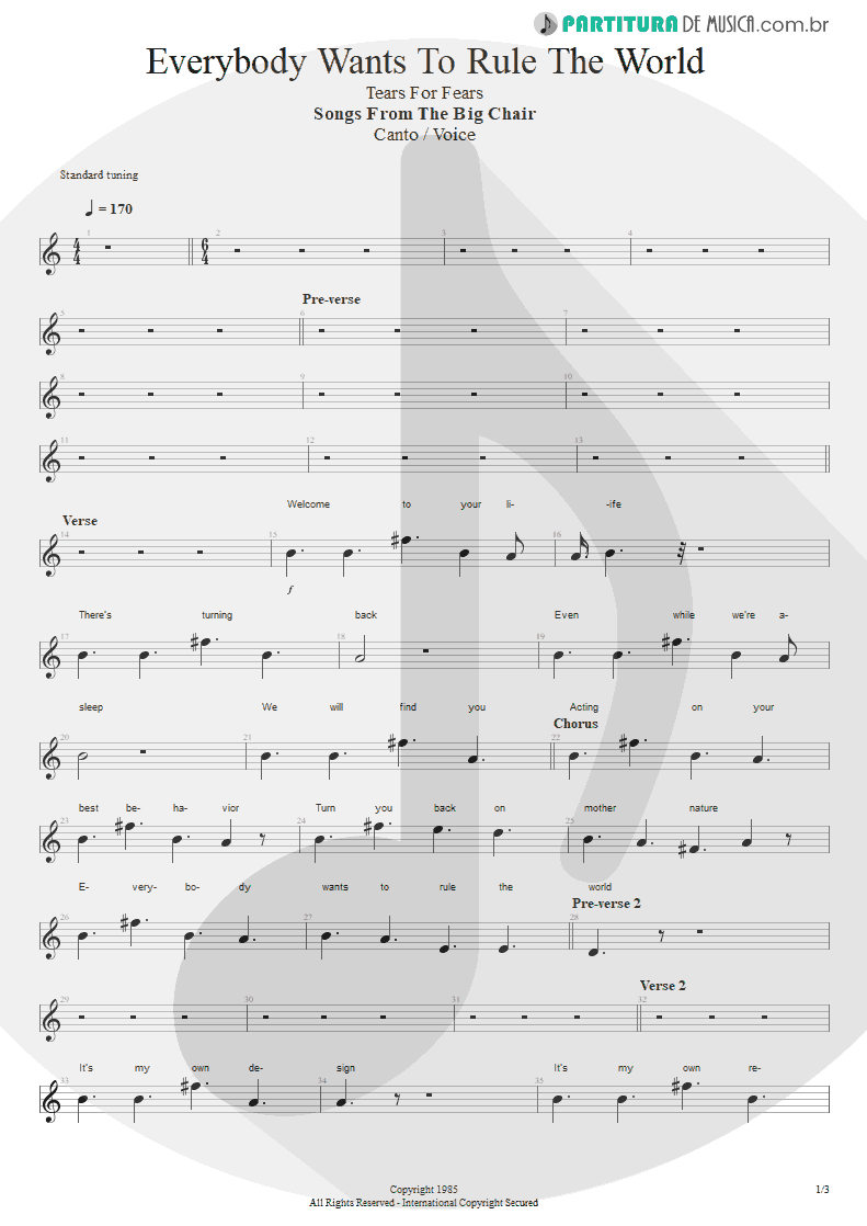 Partitura de musica de Canto - Everybody Wants To Rule The World | Tears for Fears | Songs from the Big Chair 1985 - pag 1