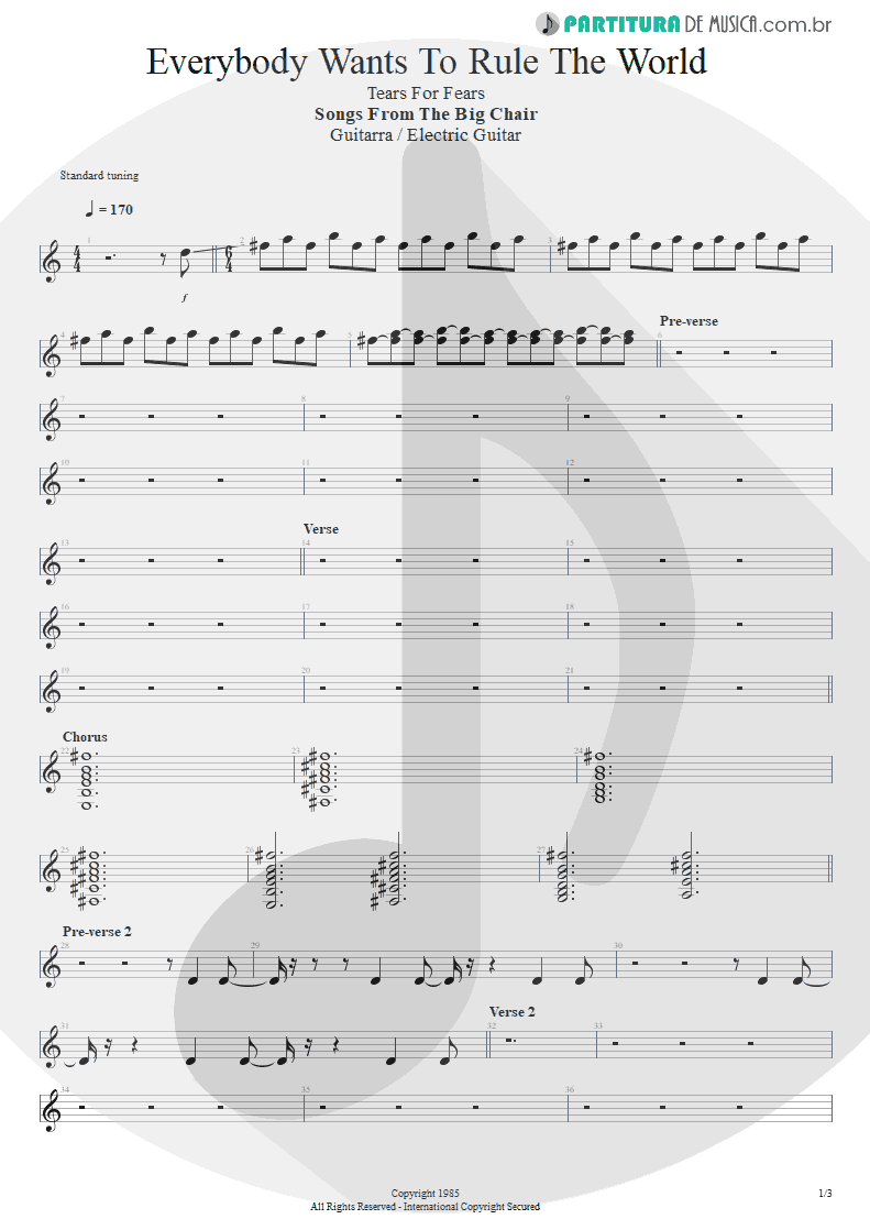 Partitura de musica de Guitarra Elétrica - Everybody Wants To Rule The World | Tears for Fears | Songs from the Big Chair 1985 - pag 1