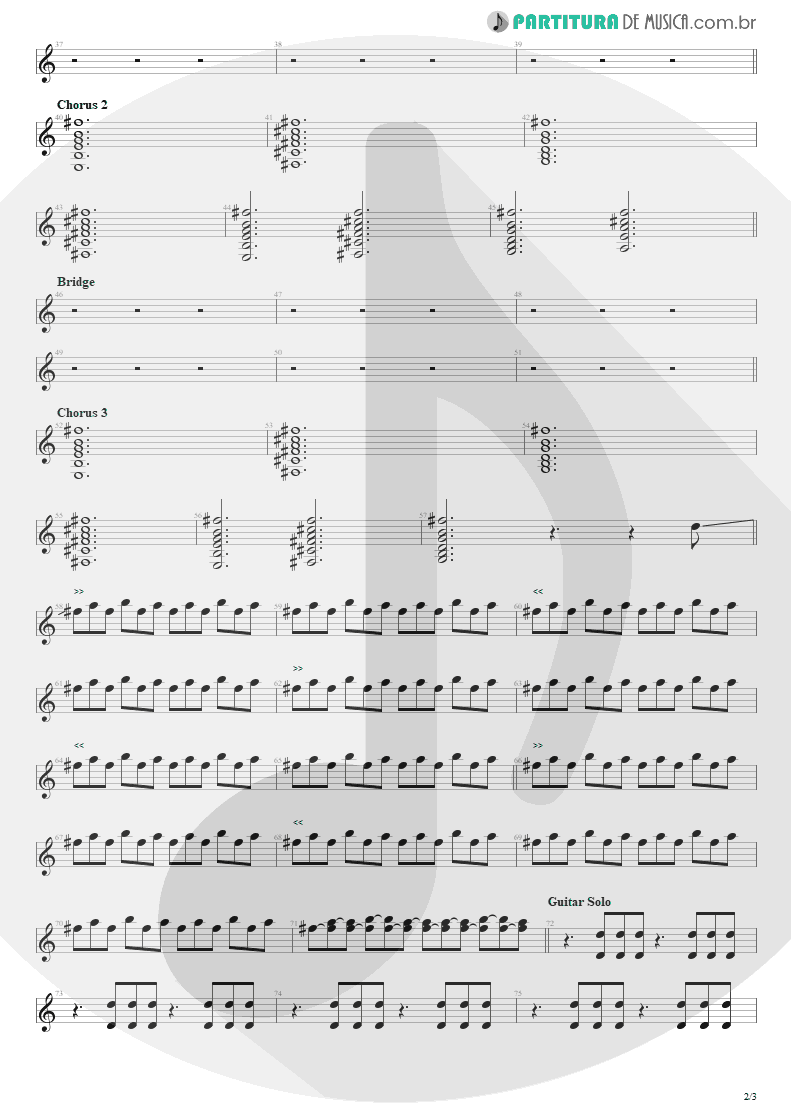 Partitura de musica de Guitarra Elétrica - Everybody Wants To Rule The World | Tears for Fears | Songs from the Big Chair 1985 - pag 2