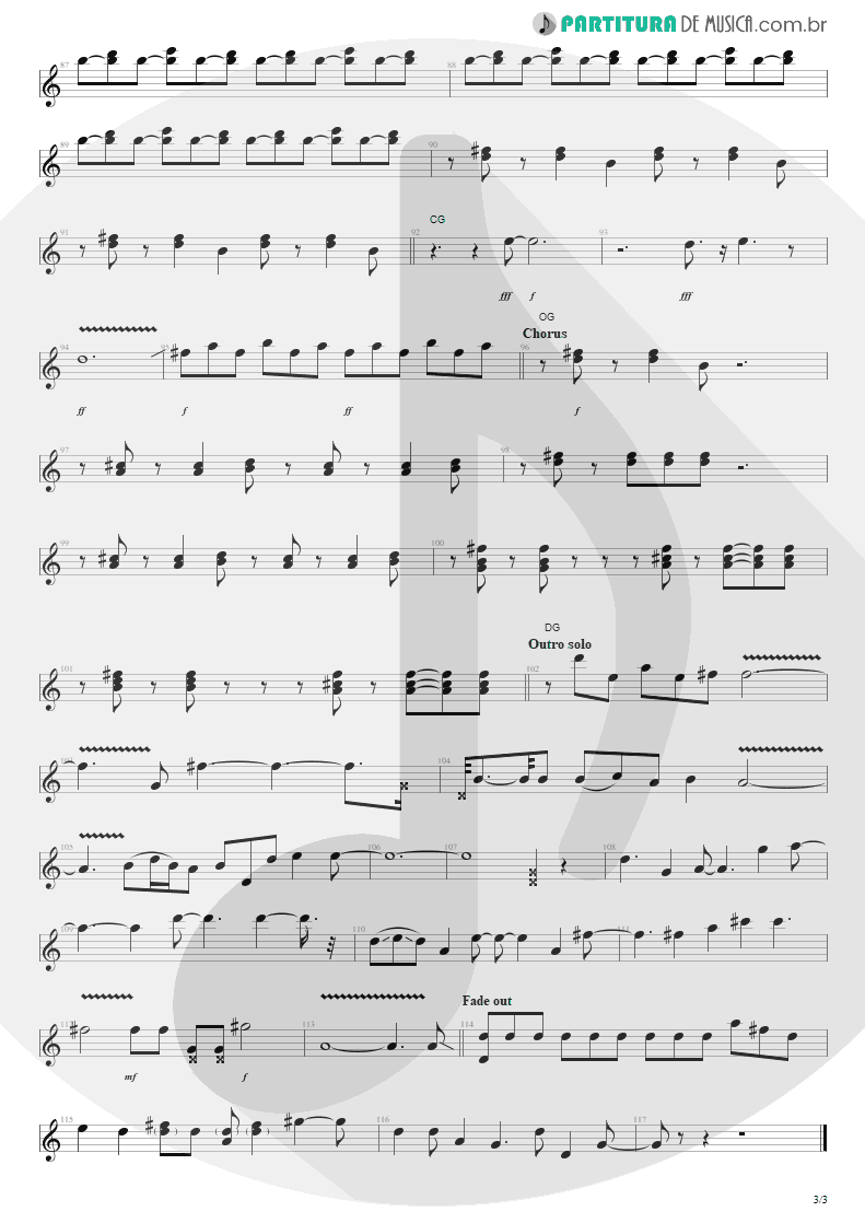 Partitura de musica de Guitarra Elétrica - Everybody Wants To Rule The World | Tears for Fears | Songs from the Big Chair 1985 - pag 3