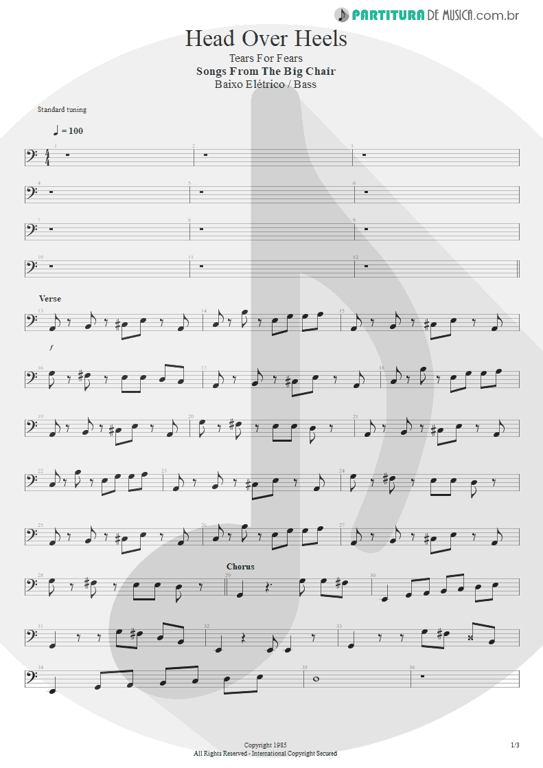 Partitura de musica de Baixo Elétrico - Head Over Heels | Tears for Fears | Songs from the Big Chair 1985 - pag 1