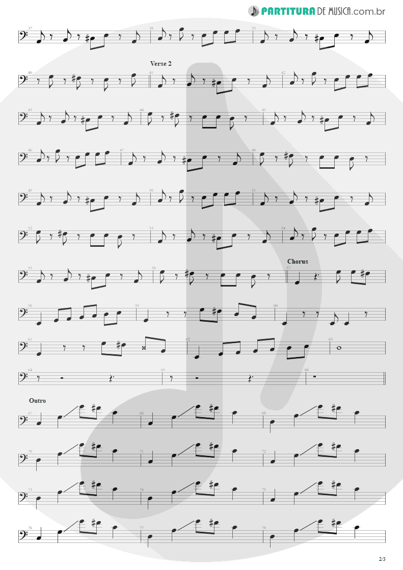 Partitura de musica de Baixo Elétrico - Head Over Heels | Tears for Fears | Songs from the Big Chair 1985 - pag 2