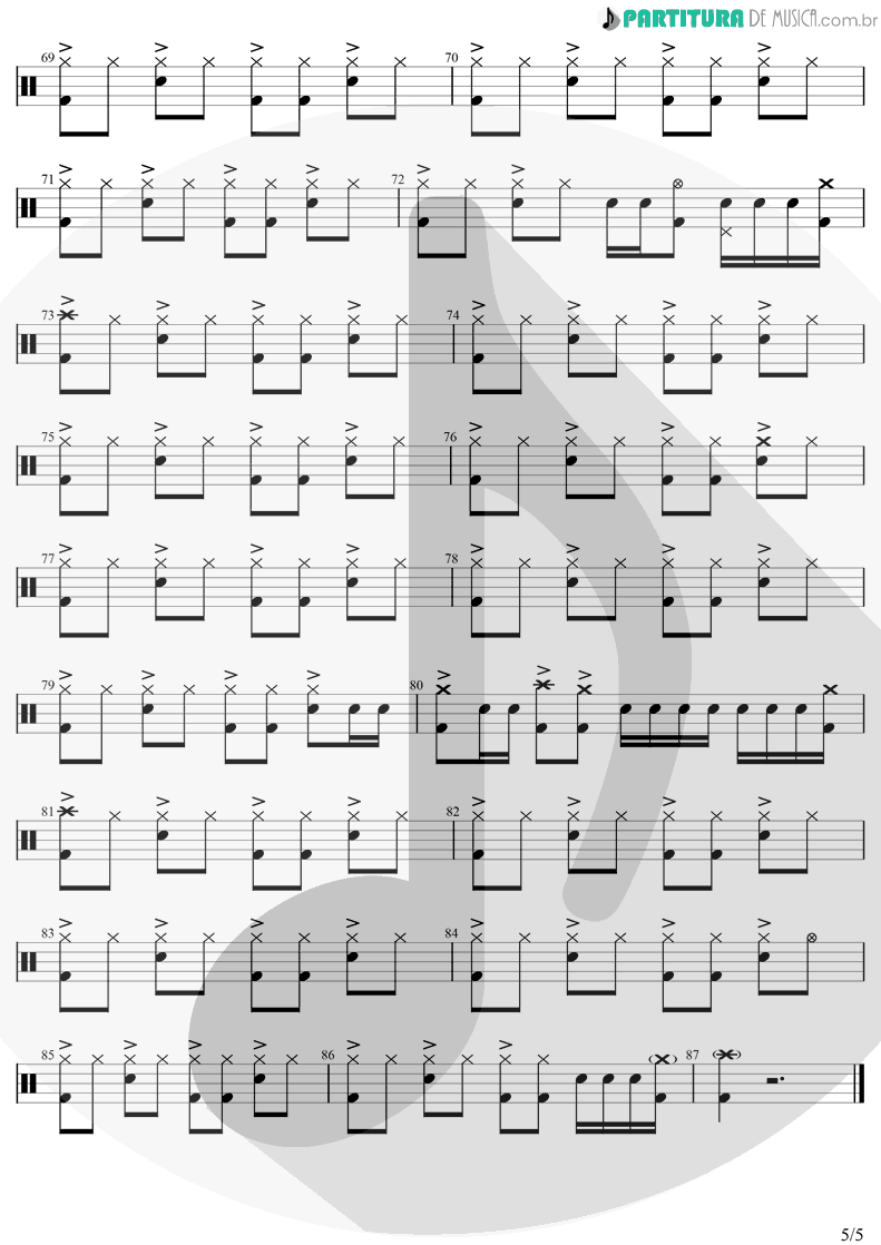 Partitura de musica de Bateria - Head Over Heels | Tears for Fears | Songs from the Big Chair 1985 - pag 5