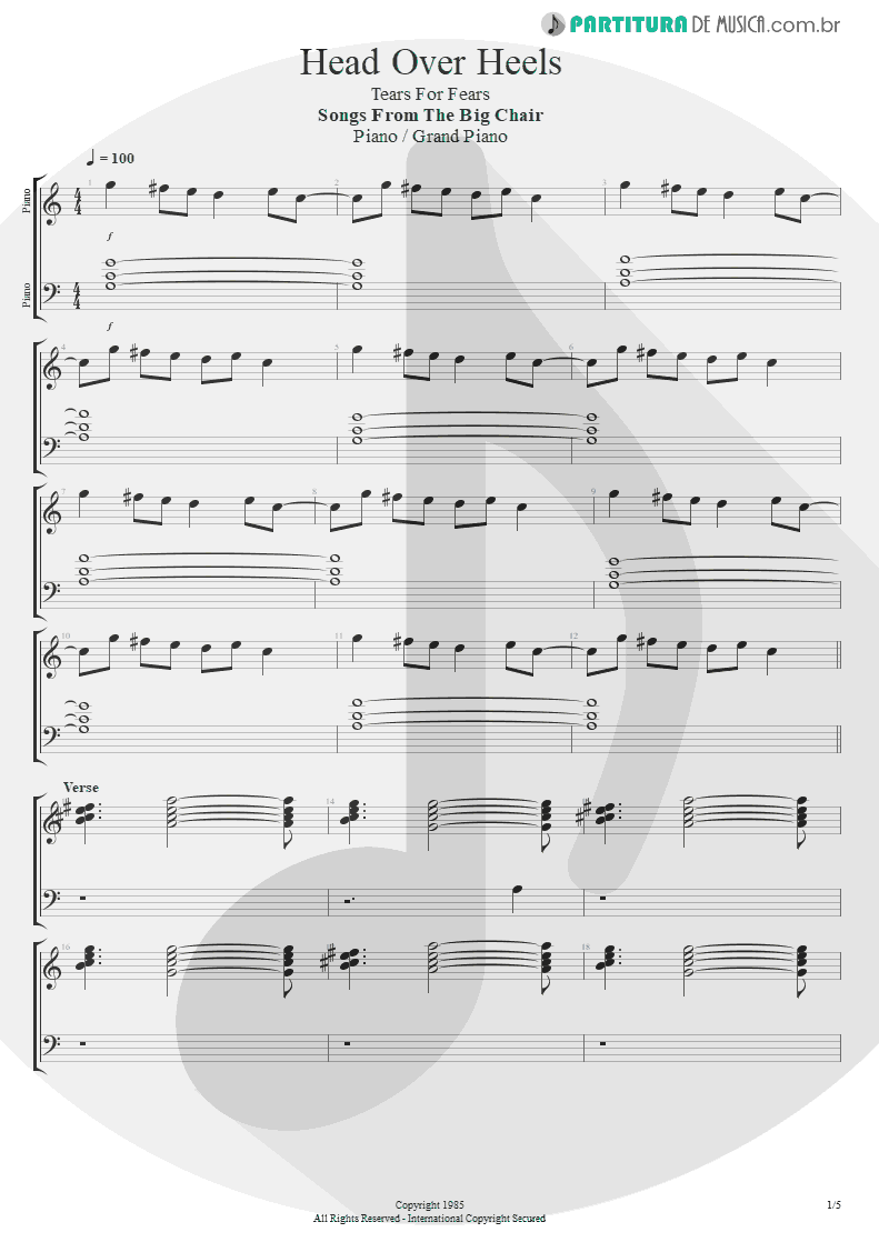 Partitura de musica de Piano - Head Over Heels | Tears for Fears | Songs from the Big Chair 1985 - pag 1