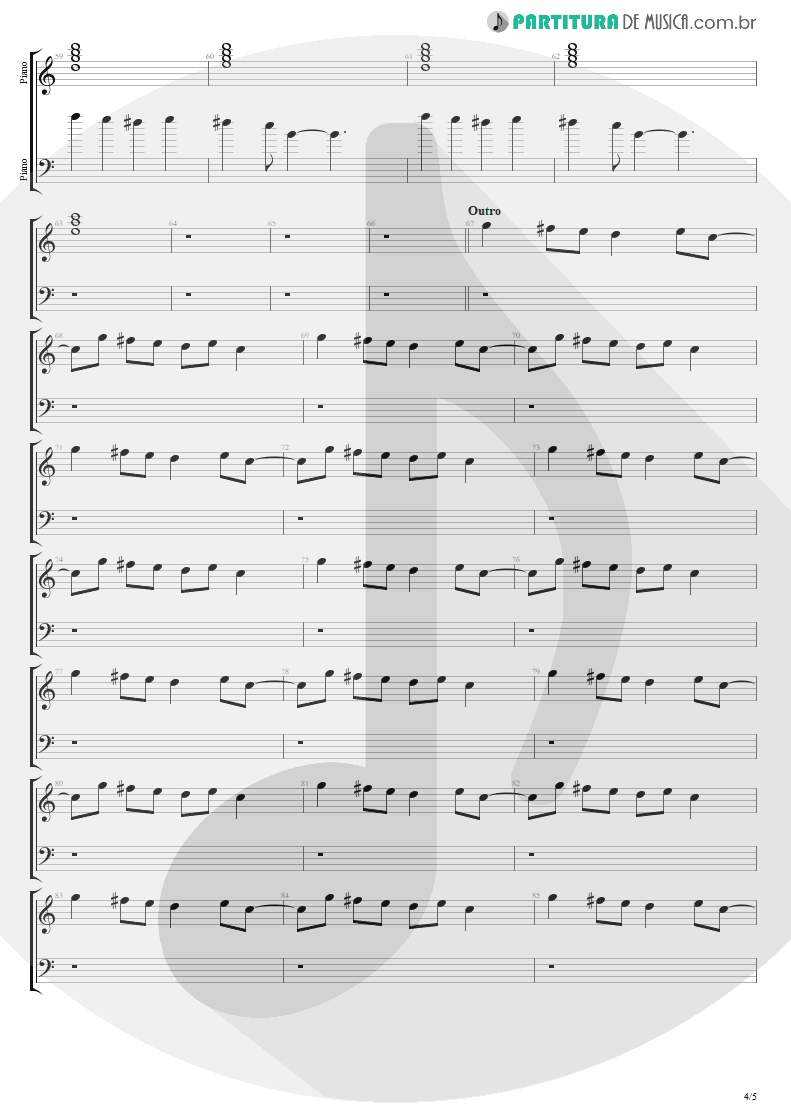 Partitura de musica de Piano - Head Over Heels | Tears for Fears | Songs from the Big Chair 1985 - pag 4