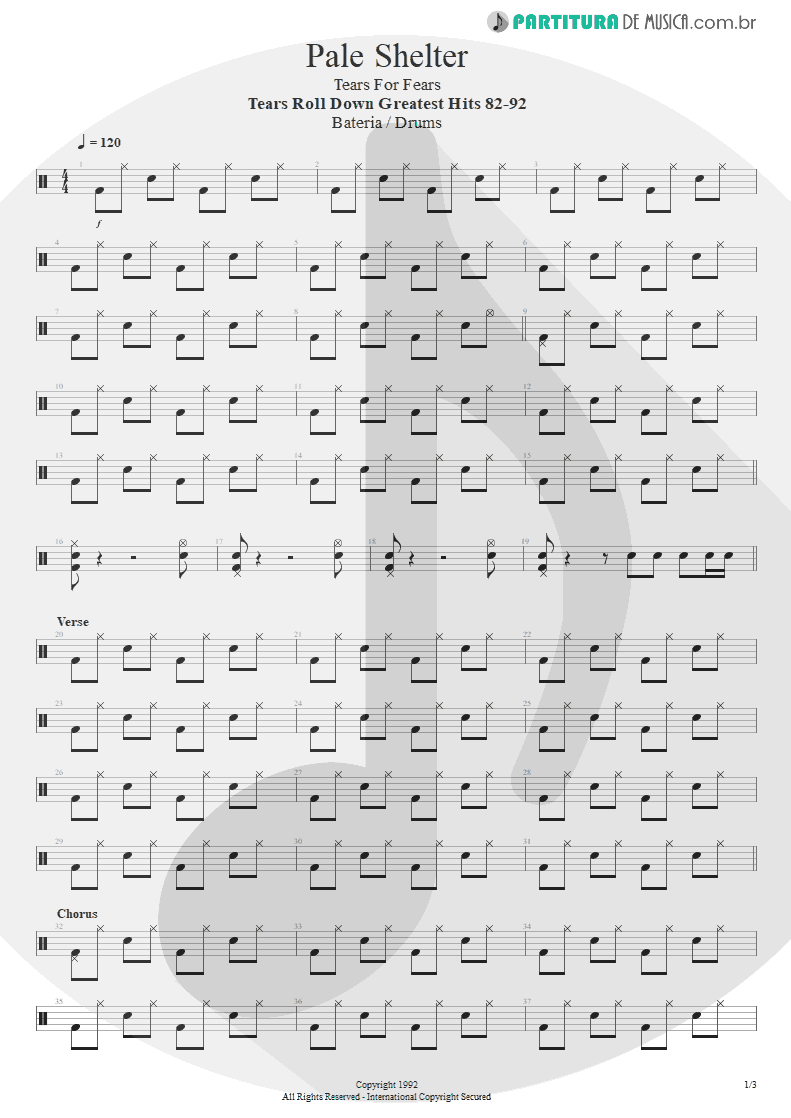 Partitura de musica de Bateria - Pale Shelter | Tears for Fears | Tears Roll Down - Greatest Hits 82-92 1992 - pag 1