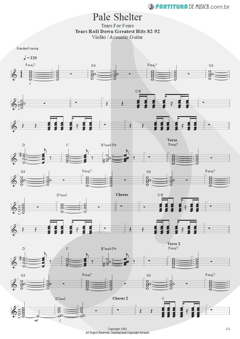 Partitura de musica de Violão - Pale Shelter   Tears for Fears   Tears Roll Down - Greatest Hits 82-92 1992 - pag 1