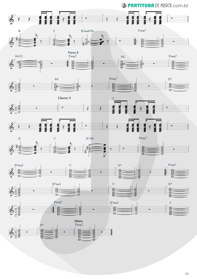 Partitura de musica de Violão - Pale Shelter   Tears for Fears   Tears Roll Down - Greatest Hits 82-92 1992 - pag 2