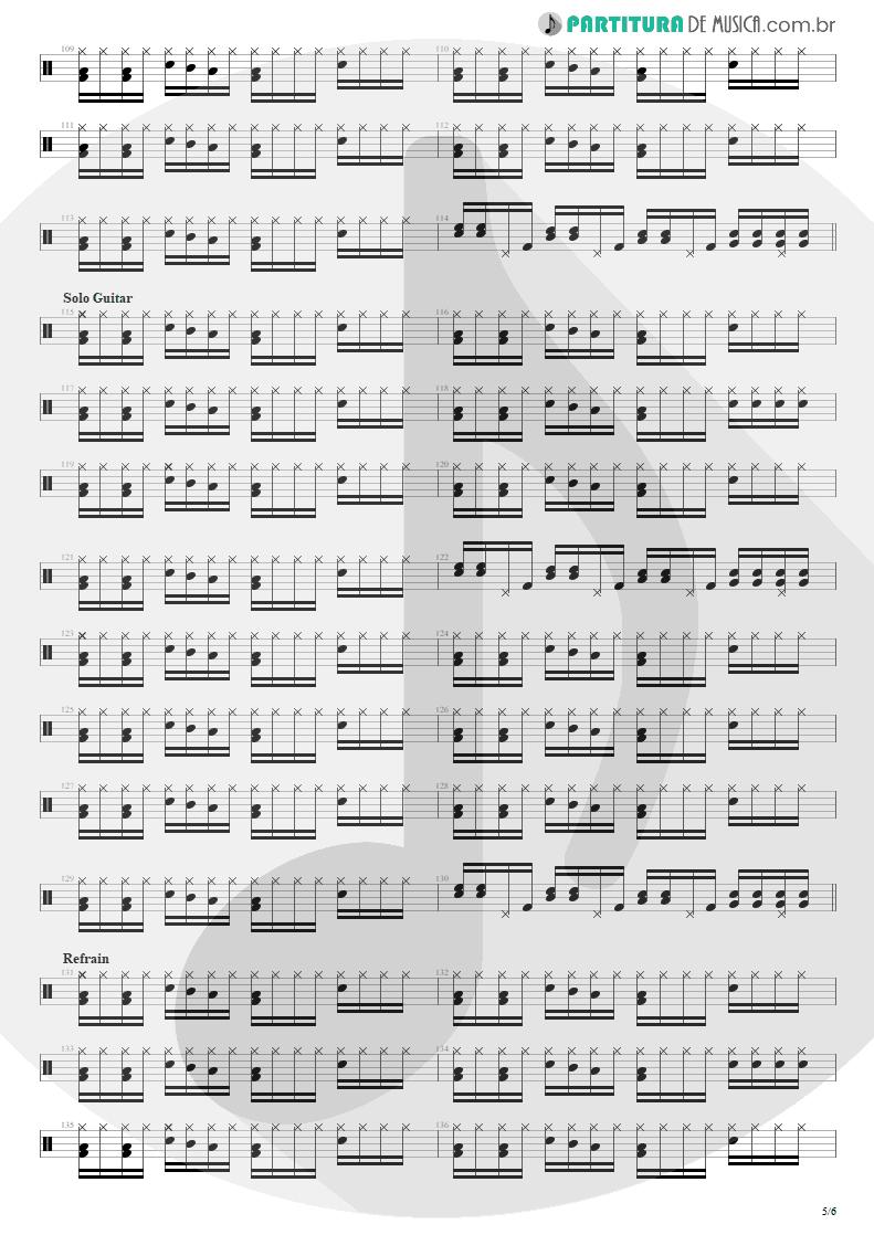 Partitura de musica de Bateria - Shout | Tears for Fears | Tears Roll Down - Greatest Hits 82-92 1992 - pag 5