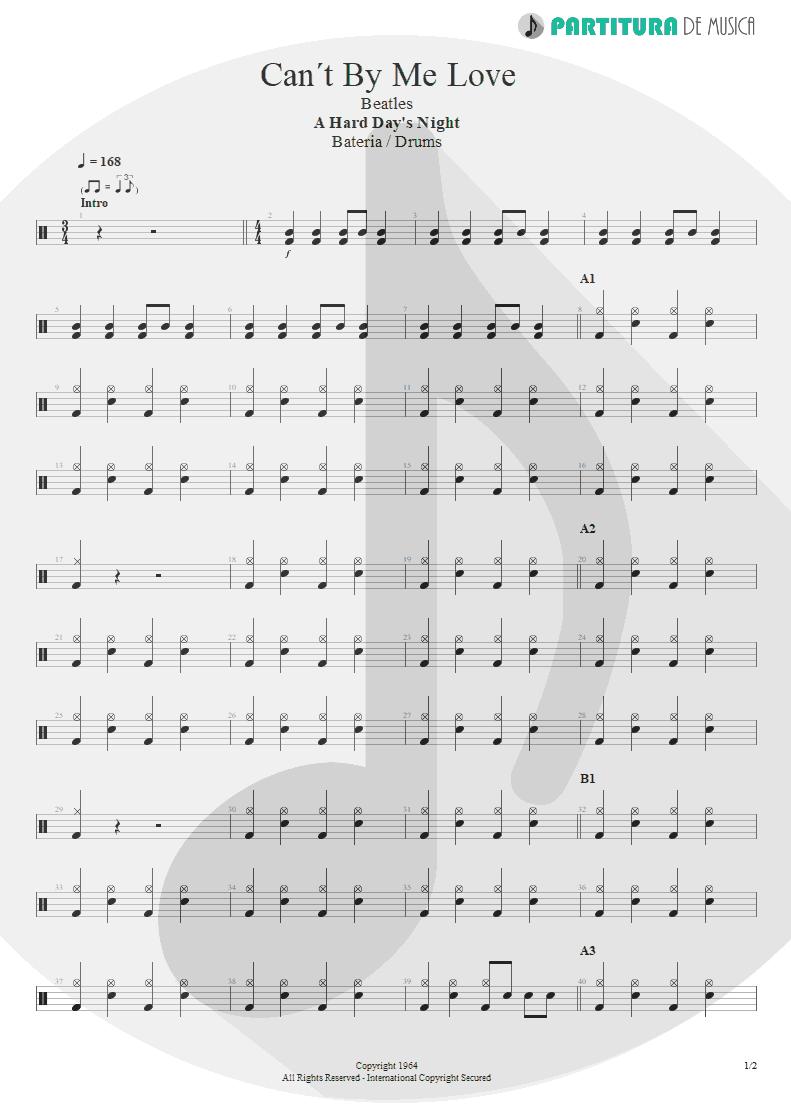 Partitura de musica de Bateria - Can´t Buy Me Love | The Beatles | A Hard Day's Night 1964 - pag 1