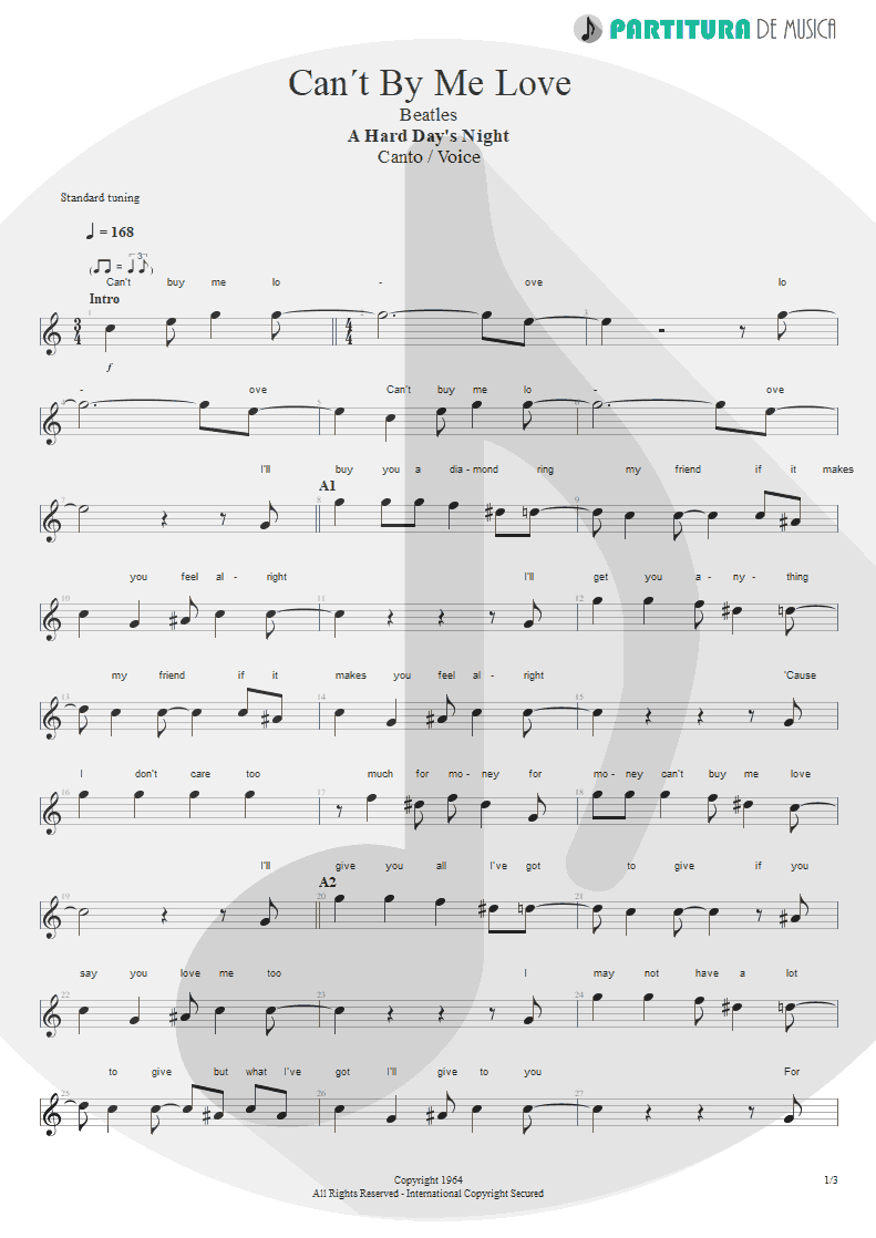 Partitura de musica de Canto - Can´t Buy Me Love | The Beatles | A Hard Day's Night 1964 - pag 1