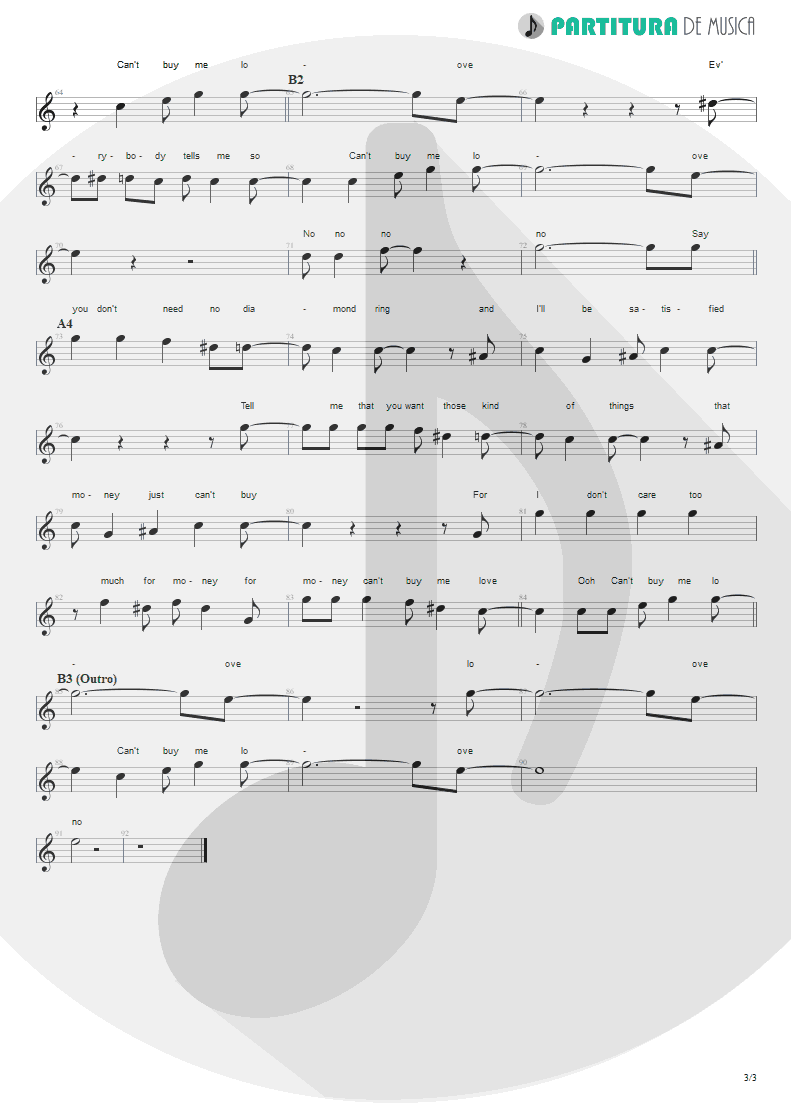 Partitura de musica de Canto - Can´t Buy Me Love | The Beatles | A Hard Day's Night 1964 - pag 3