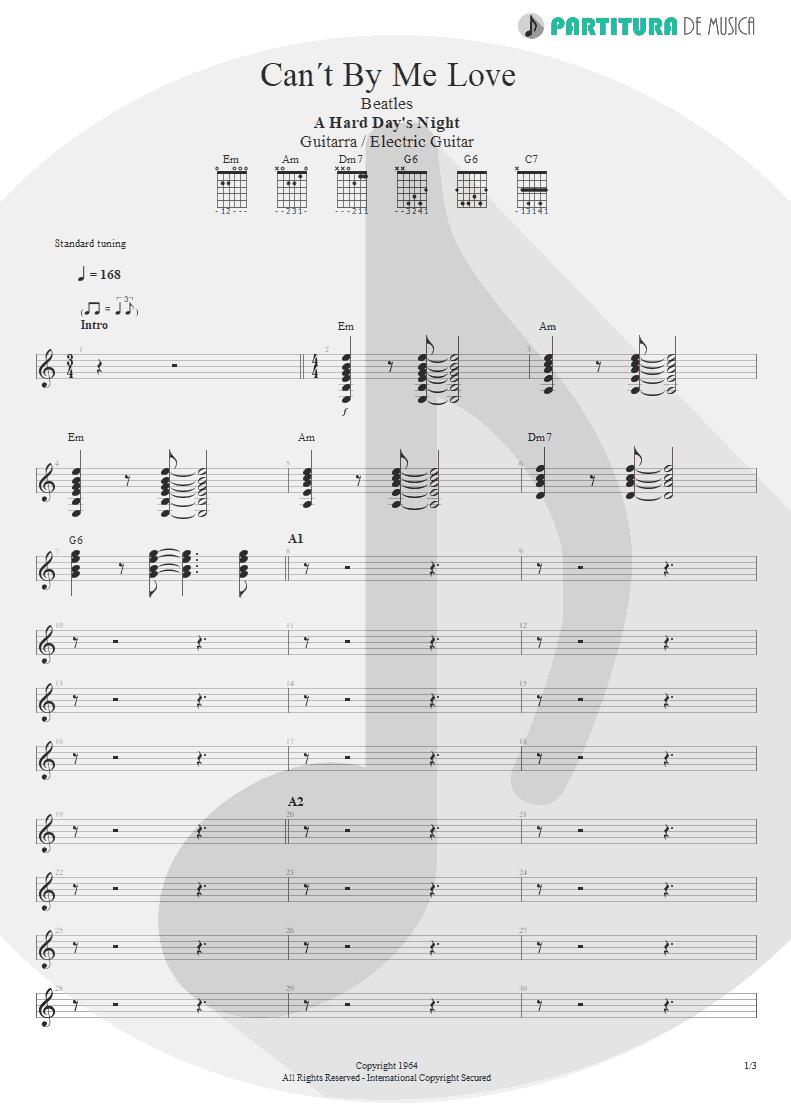 Partitura de musica de Guitarra Elétrica - Can´t Buy Me Love | The Beatles | A Hard Day's Night 1964 - pag 1
