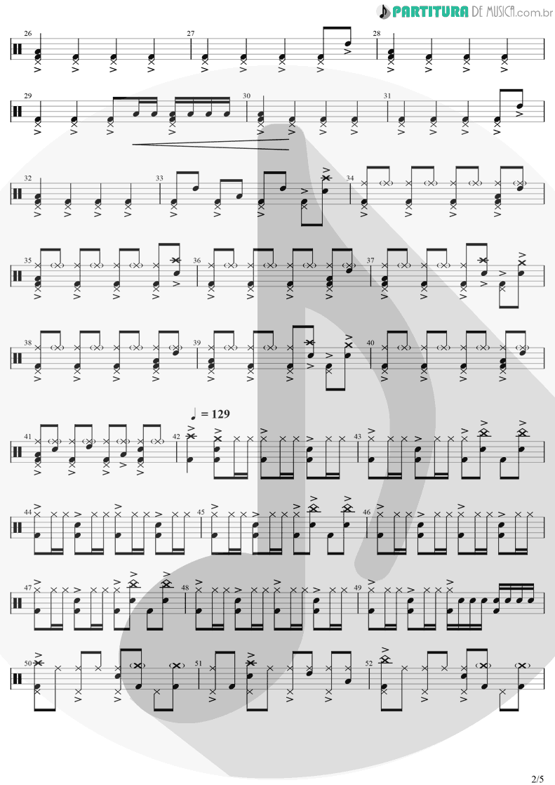 Partitura de musica de Bateria - Dreams | The Cranberries | Everybody Else Is Doing It, So Why Can't We? 1993 - pag 2