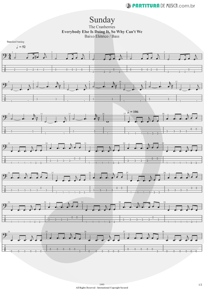 Tablatura + Partitura de musica de Baixo Elétrico - Sunday | The Cranberries | Everybody Else Is Doing It, So Why Can't We? 1993 - pag 1