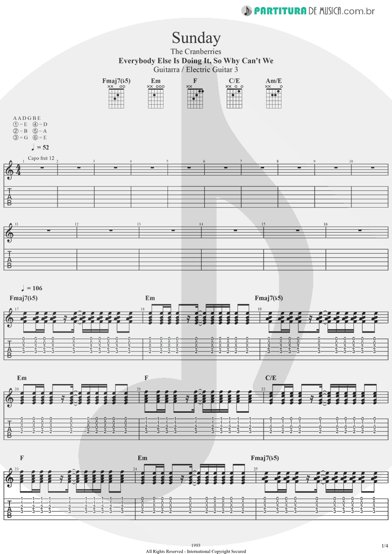 Tablatura + Partitura de musica de Guitarra Elétrica - Sunday | The Cranberries | Everybody Else Is Doing It, So Why Can't We? 1993 - pag 1