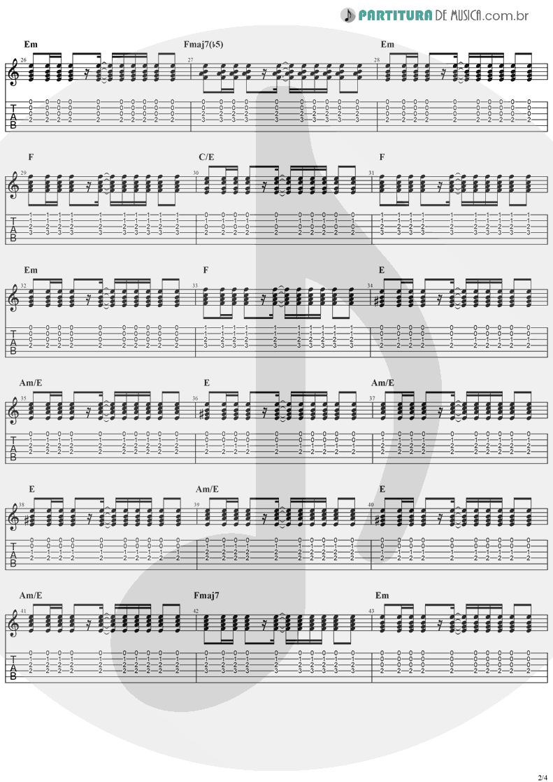 Tablatura + Partitura de musica de Guitarra Elétrica - Sunday | The Cranberries | Everybody Else Is Doing It, So Why Can't We? 1993 - pag 2