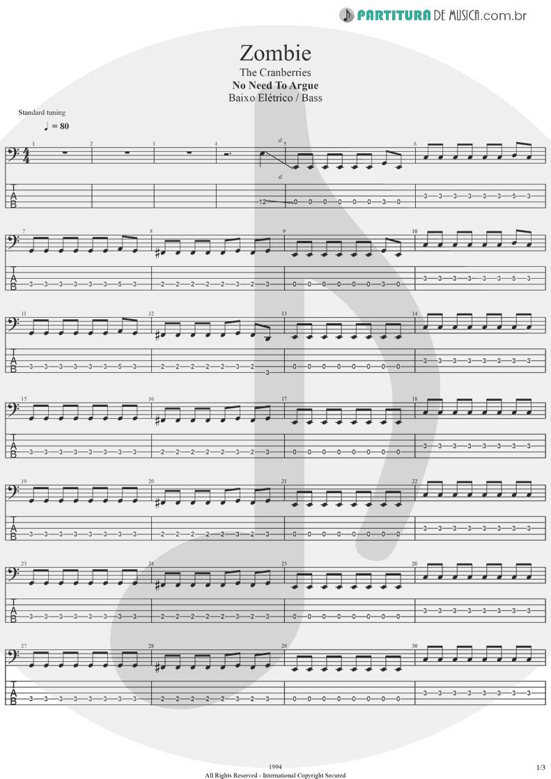 Tablatura + Partitura de musica de Baixo Elétrico - Zombie | The Cranberries | No Need to Argue 1994 - pag 1