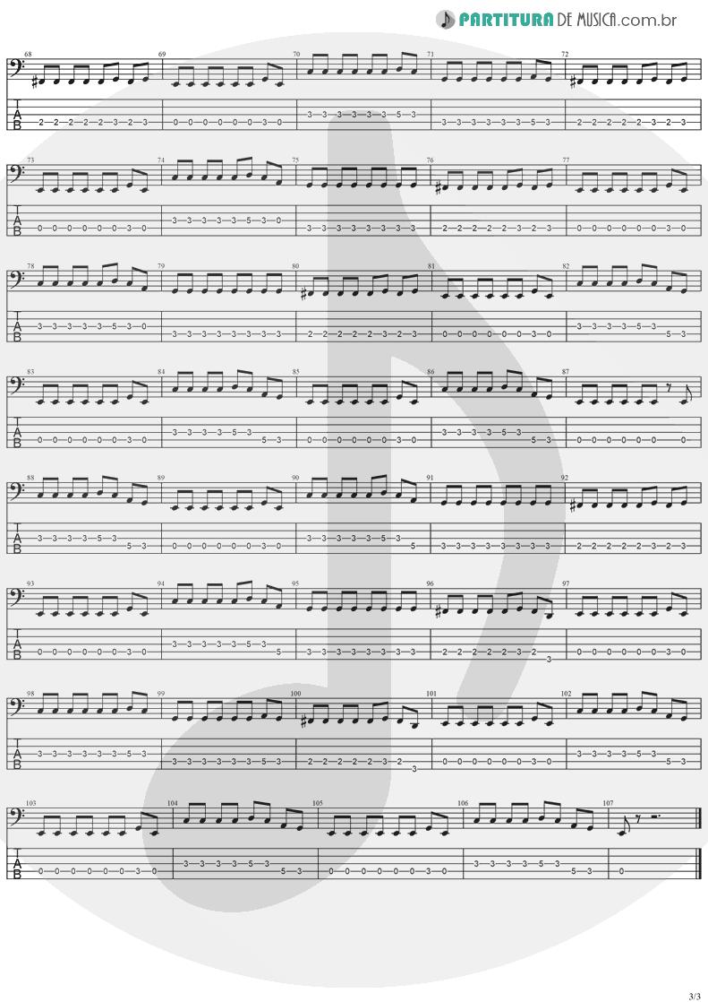 Tablatura + Partitura de musica de Baixo Elétrico - Zombie | The Cranberries | No Need to Argue 1994 - pag 3