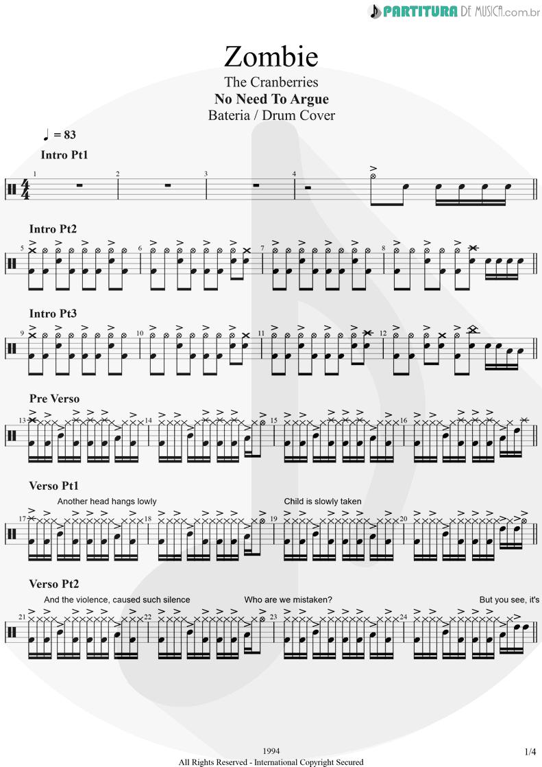 Partitura de musica de Bateria - Zombie   The Cranberries   No Need to Argue 1994 - pag 1