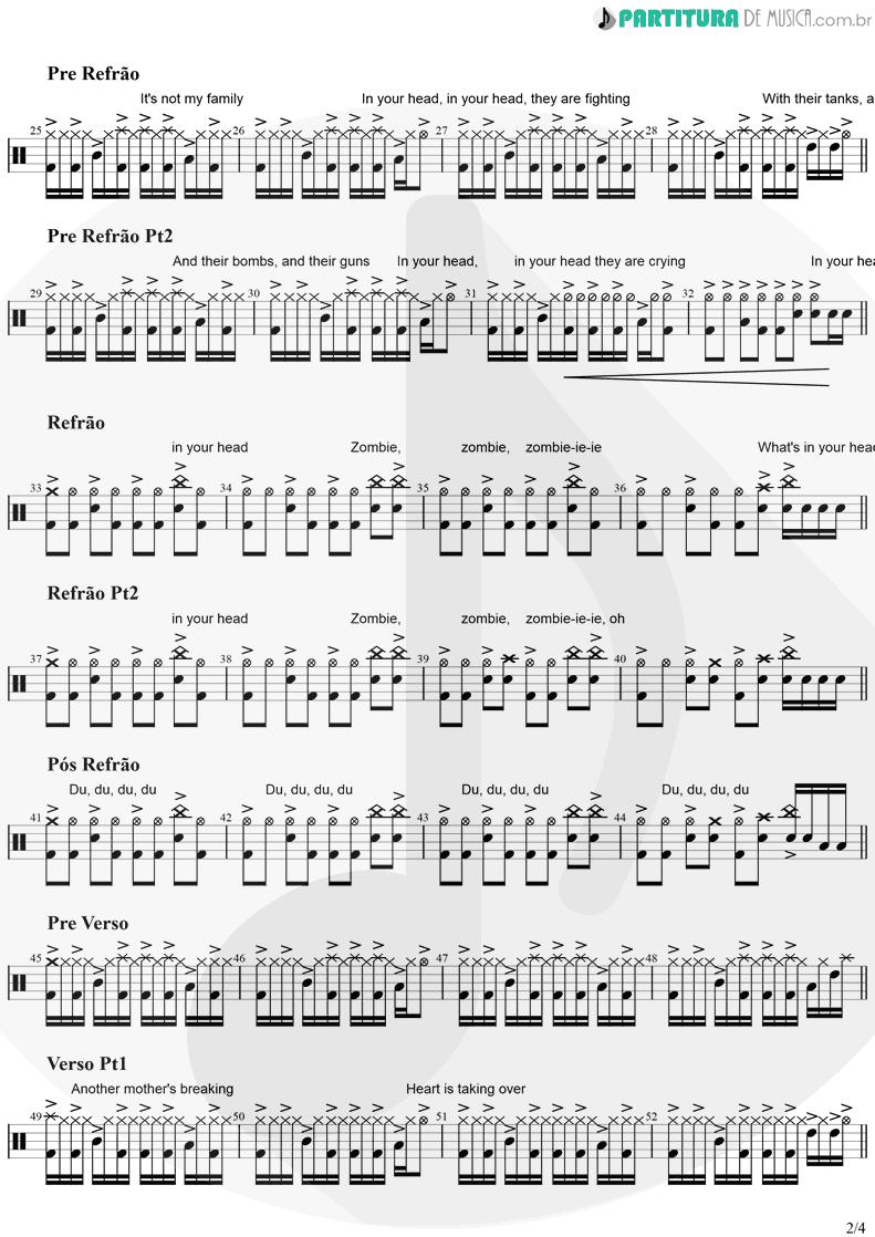Partitura de musica de Bateria - Zombie   The Cranberries   No Need to Argue 1994 - pag 2