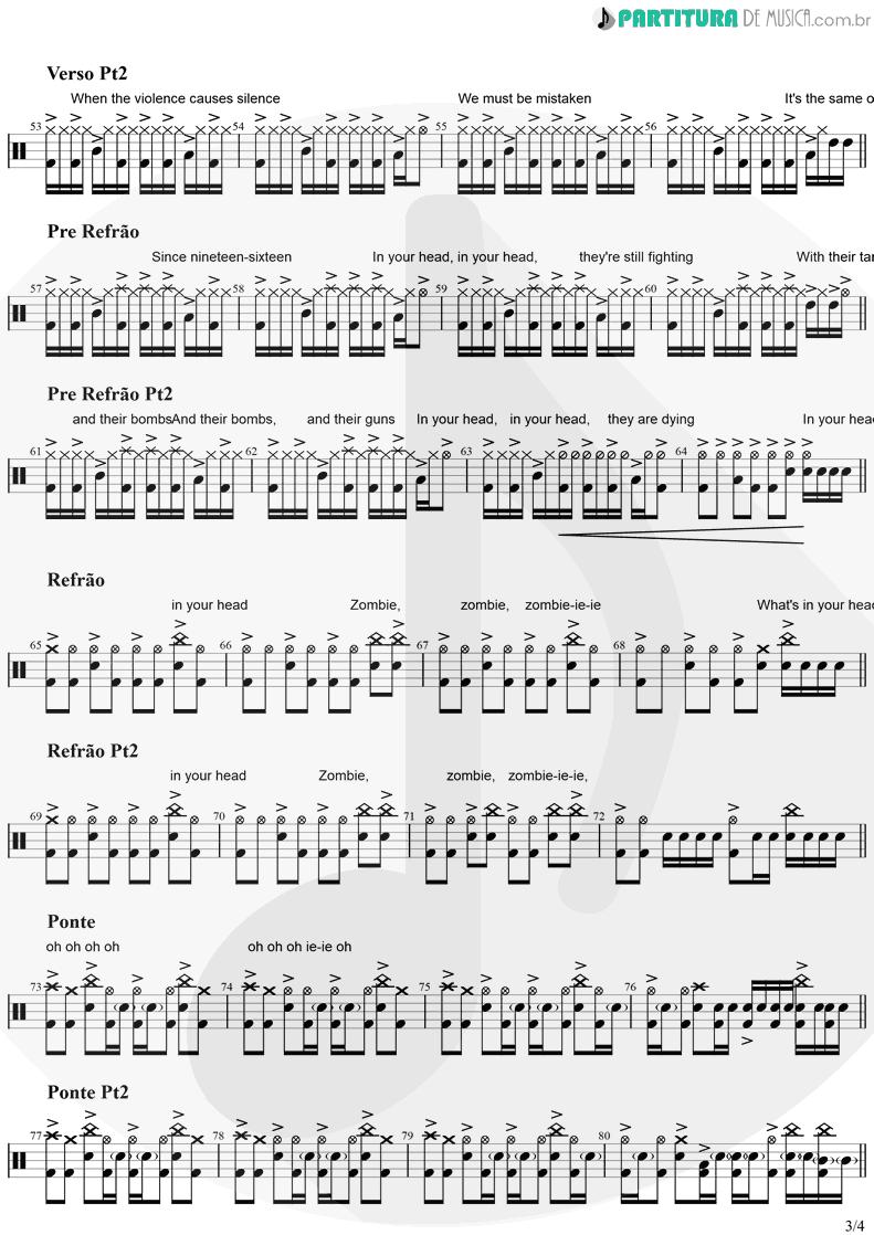 Partitura de musica de Bateria - Zombie   The Cranberries   No Need to Argue 1994 - pag 3