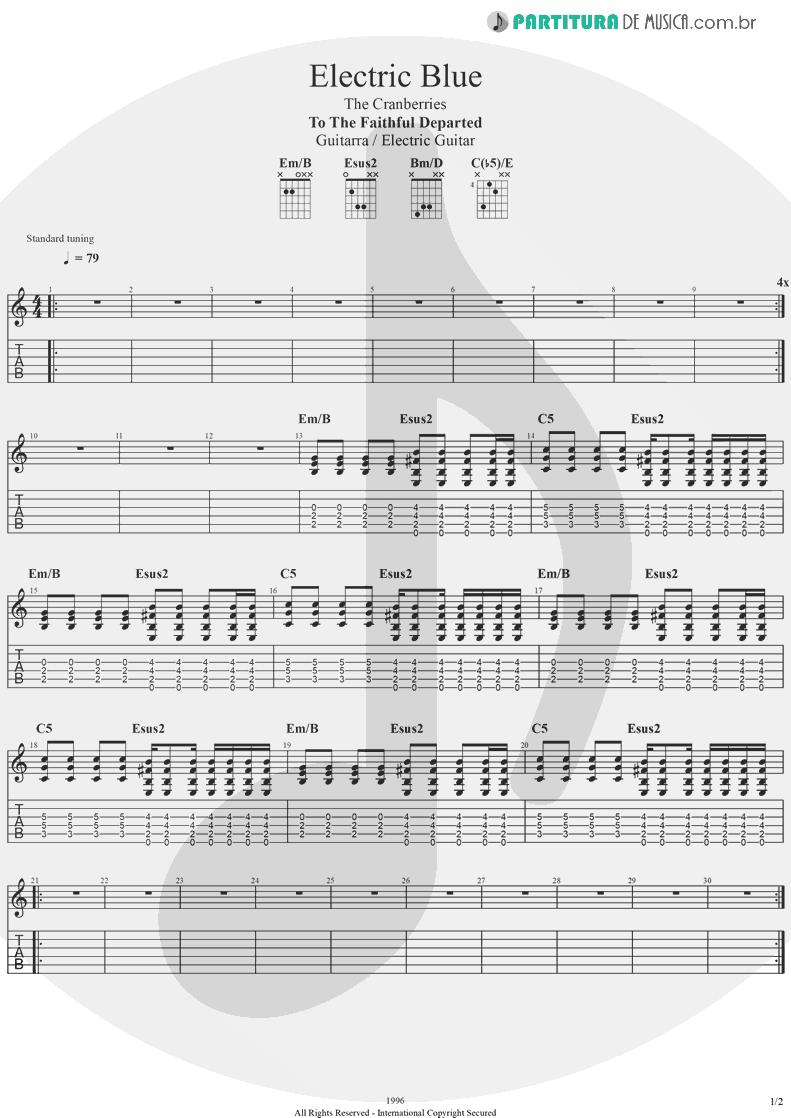 Tablatura + Partitura de musica de Guitarra Elétrica - Electric Blue | The Cranberries | To the Faithful Departed 1996 - pag 1