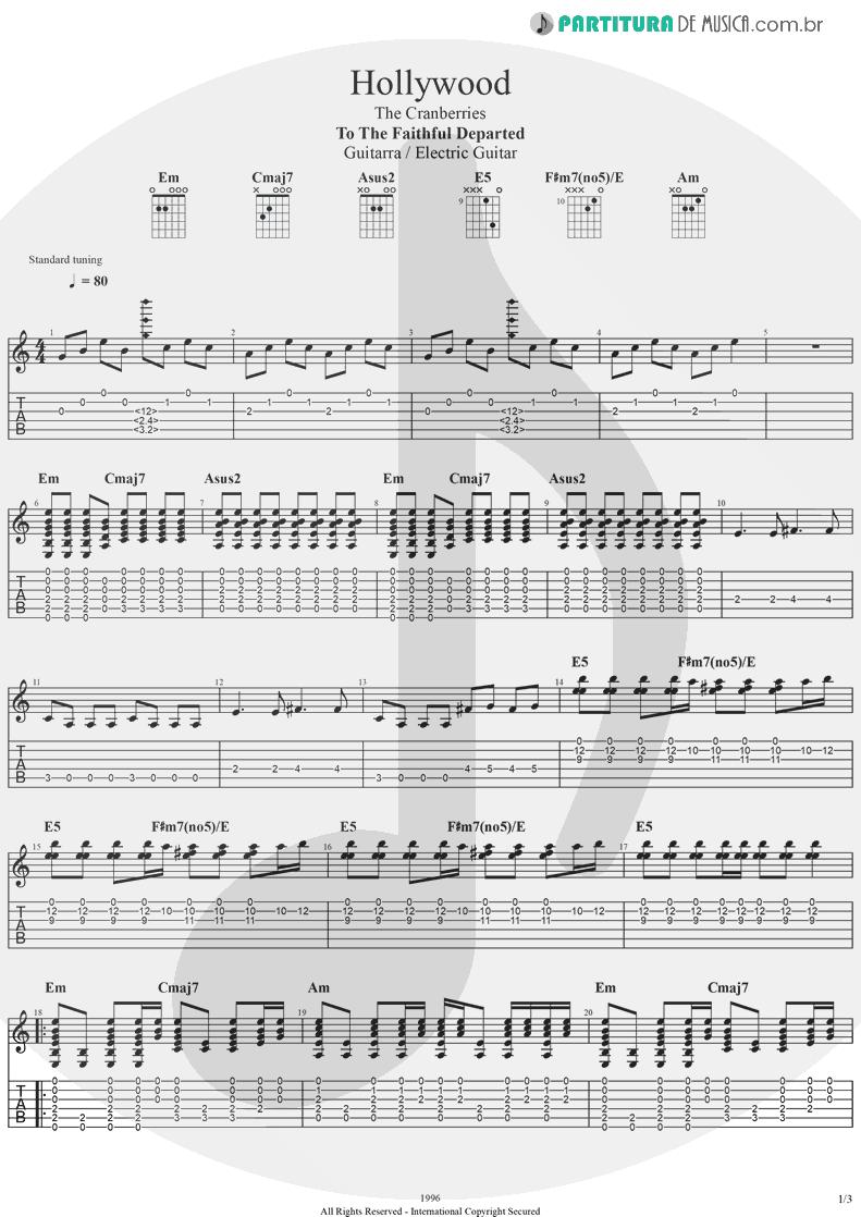 Tablatura + Partitura de musica de Guitarra Elétrica - Hollywood | The Cranberries | To the Faithful Departed 1996 - pag 1