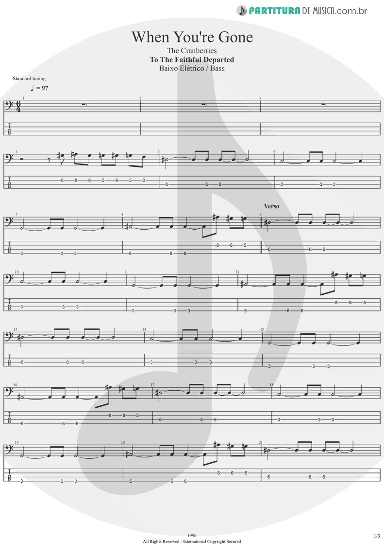 Tablatura + Partitura de musica de Baixo Elétrico - When You're Gone | The Cranberries | To the Faithful Departed 1996 - pag 1