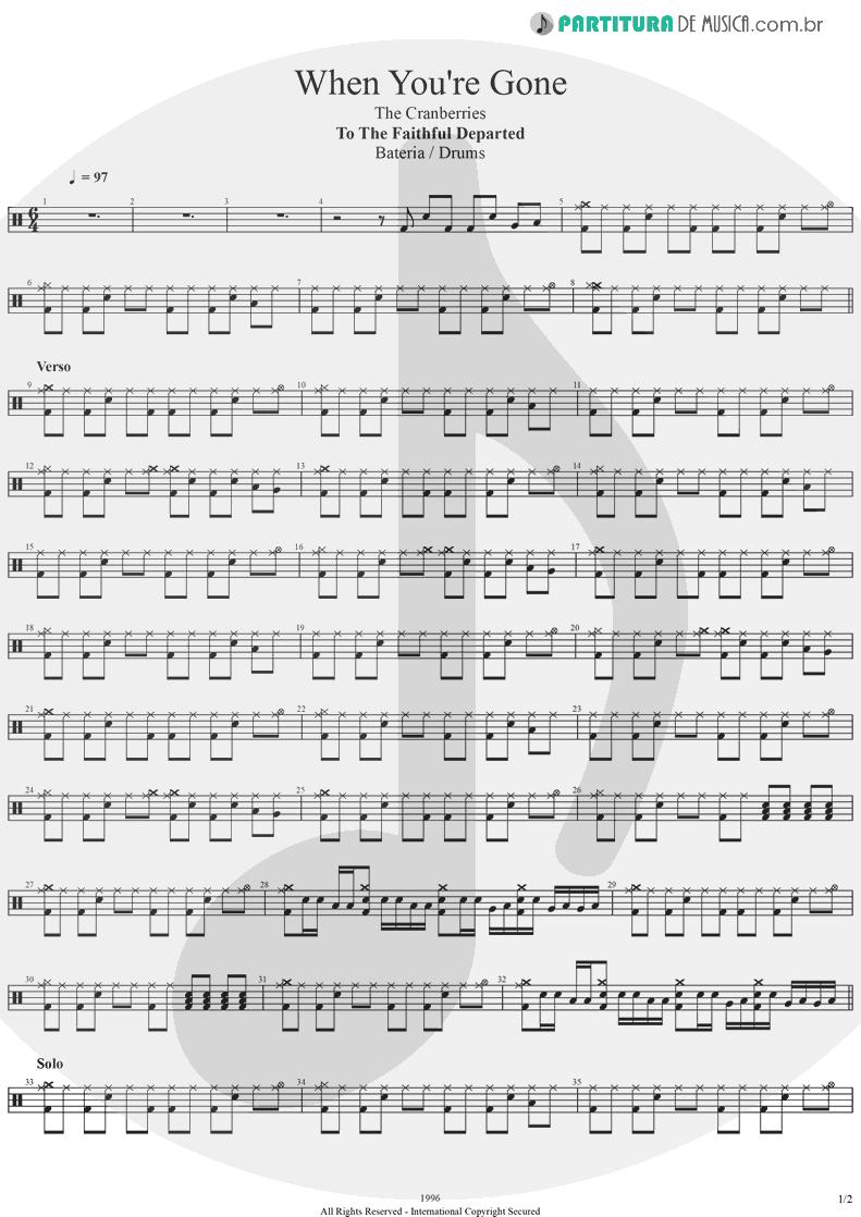 Partitura de musica de Bateria - When You're Gone | The Cranberries | To the Faithful Departed 1996 - pag 1