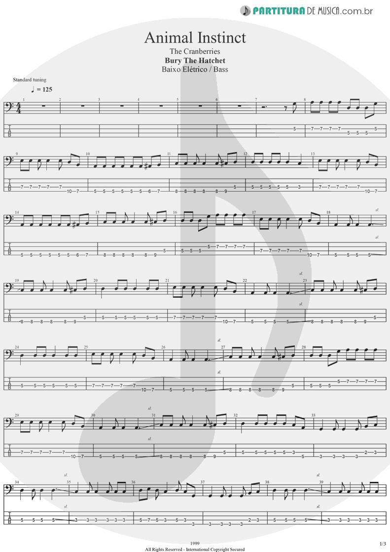 Tablatura + Partitura de musica de Baixo Elétrico - Animal Instinct | The Cranberries | Bury the Hatchet 1999 - pag 1