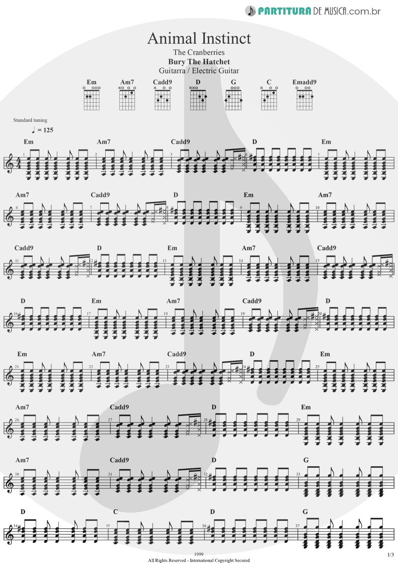 Partitura de musica de Guitarra Elétrica - Animal Instinct | The Cranberries | Bury the Hatchet 1999 - pag 1