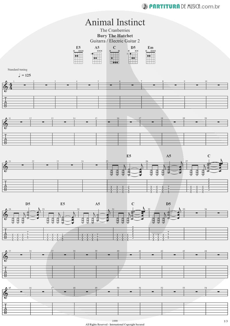 Tablatura + Partitura de musica de Guitarra Elétrica - Animal Instinct | The Cranberries | Bury the Hatchet 1999 - pag 1