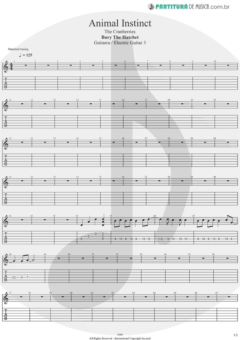 Tablatura + Partitura de musica de Guitarra Elétrica - Animal Instinct   The Cranberries   Bury the Hatchet 1999 - pag 1