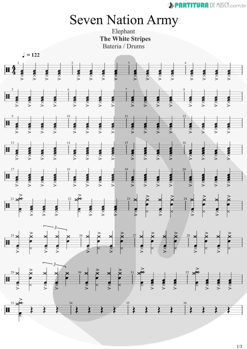 Partitura de musica de Bateria - Seven Nation Army | The White Stripes | Elephant 2003 - pag 1