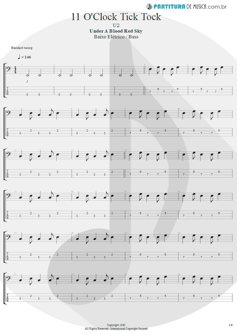 Tablatura + Partitura de musica de Baixo Elétrico - 11 O'Clock Tick Tock | U2 | Under a Blood Red Sky 1983 - pag 1