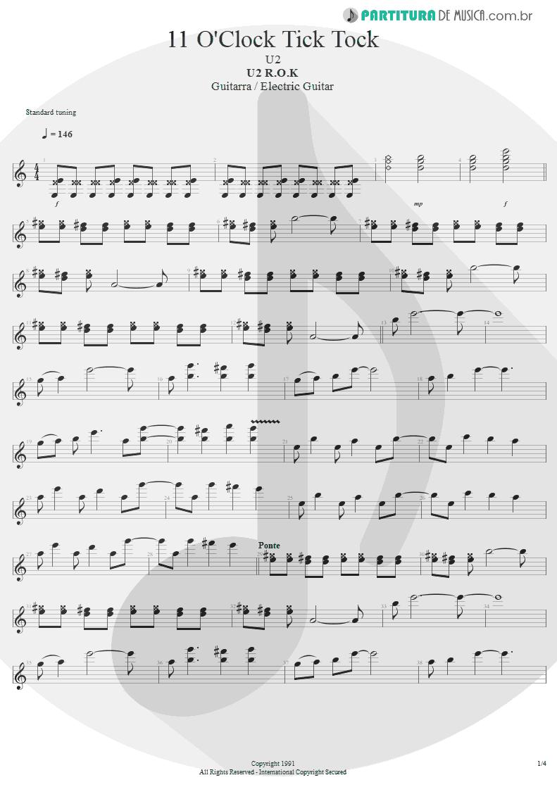 Partitura de musica de Guitarra Elétrica - 11 O'Clock Tick Tock | U2 | Under a Blood Red Sky 1983 - pag 1