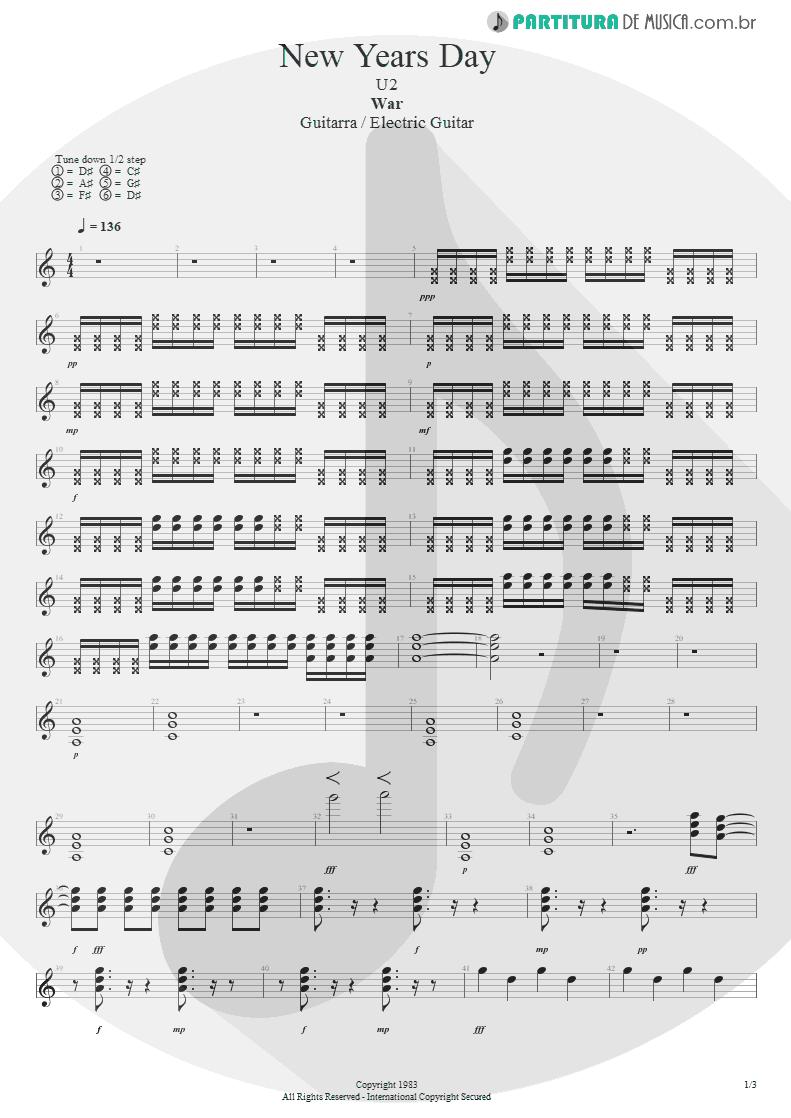 Partitura de musica de Guitarra Elétrica - New Years Day | U2 | War 1983 - pag 1