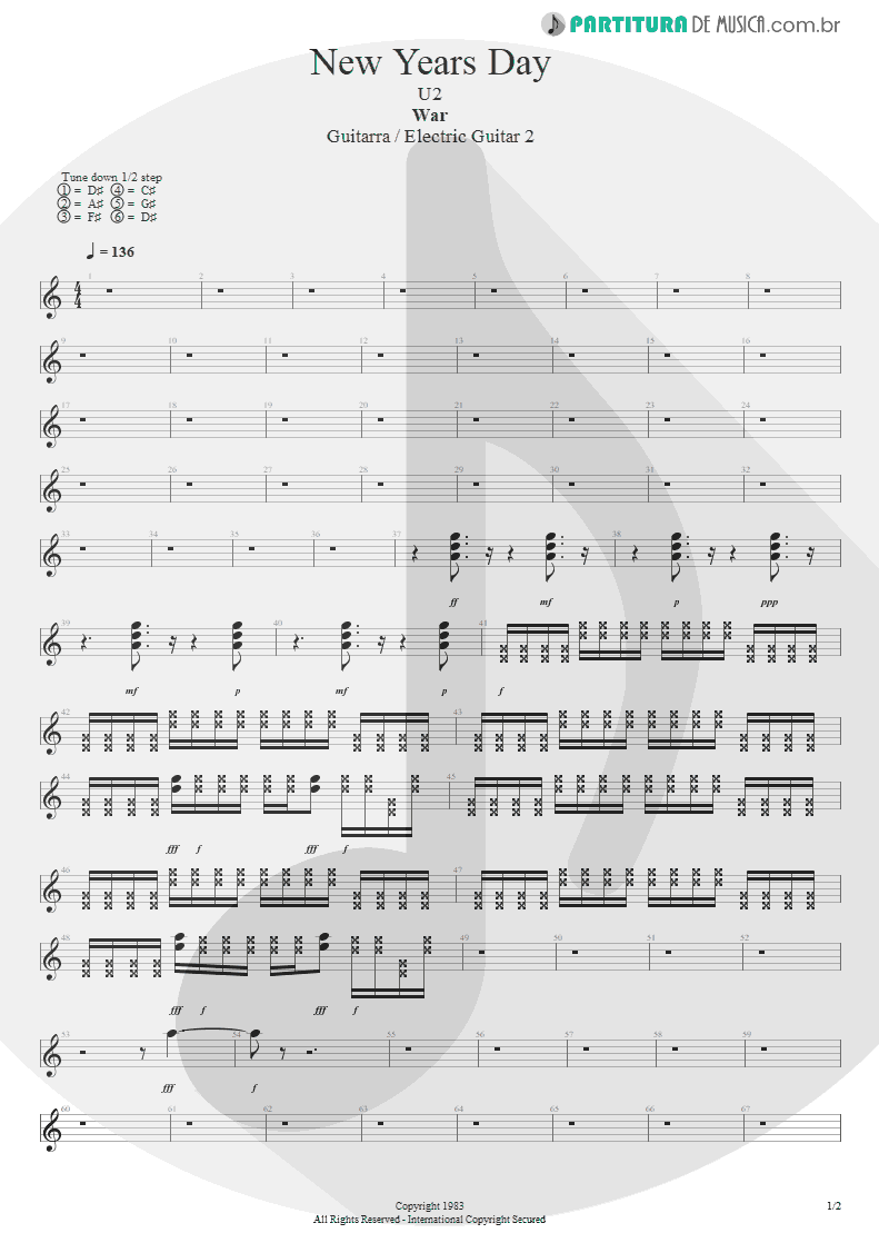 Partitura de musica de Guitarra Elétrica - New Years Day | U2 | War 1983 - pag 1
