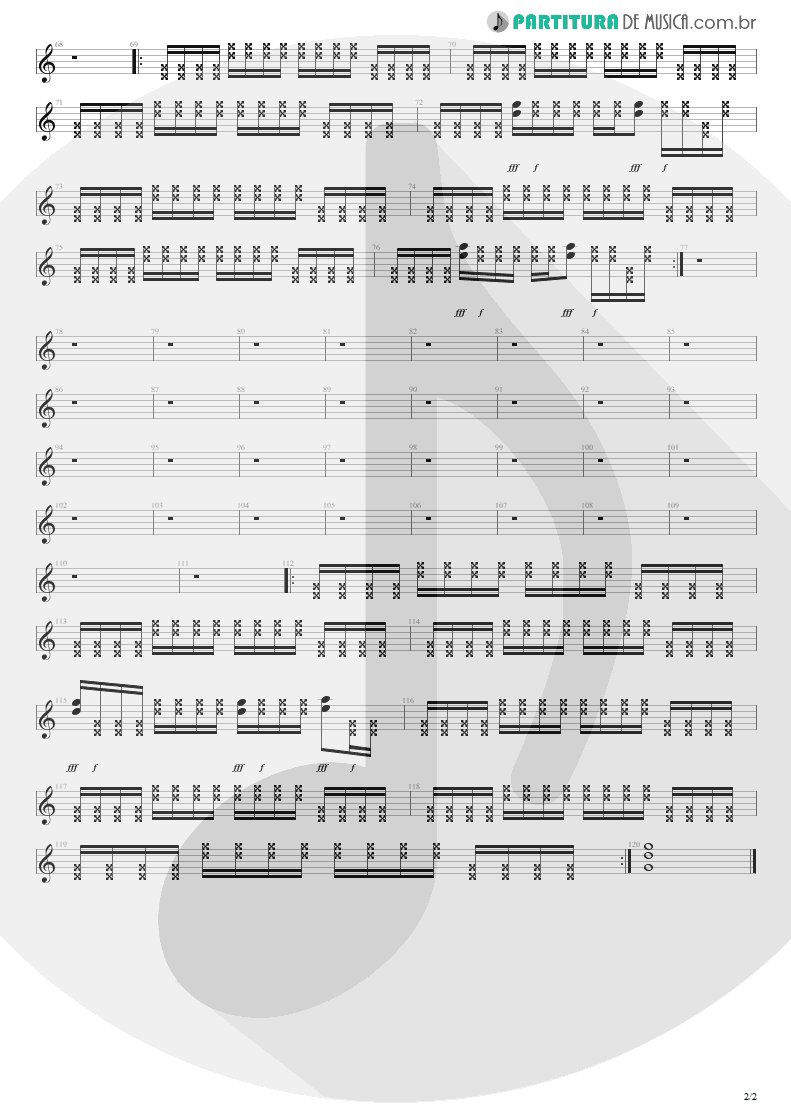 Partitura de musica de Guitarra Elétrica - New Years Day | U2 | War 1983 - pag 2