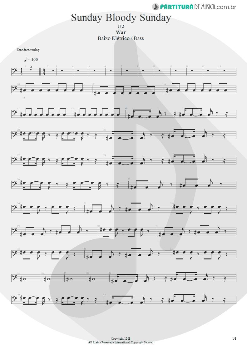 Partitura de musica de Baixo Elétrico - Sunday Bloody Sunday | U2 | War 1983 - pag 1
