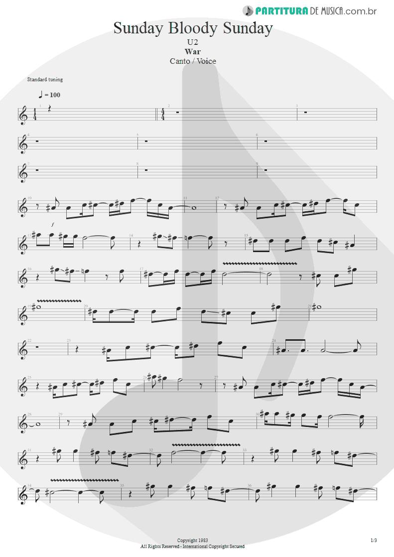 Partitura de musica de Canto - Sunday Bloody Sunday | U2 | War 1983 - pag 1