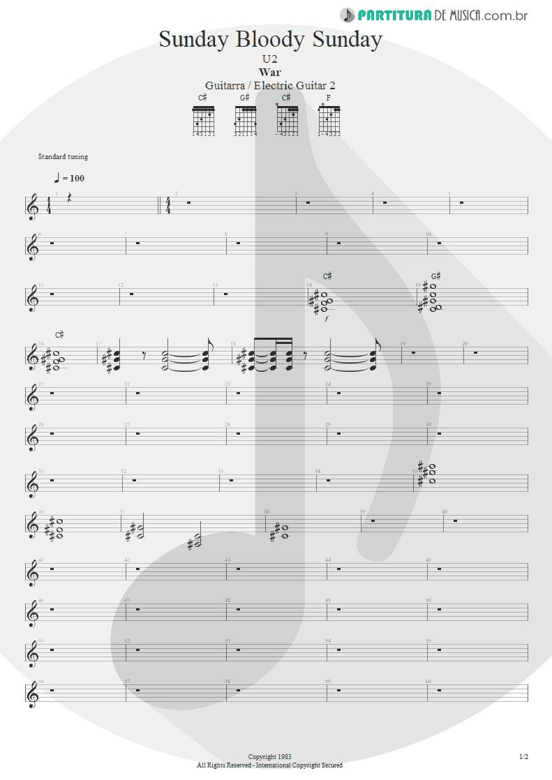 Partitura de musica de Guitarra Elétrica - Sunday Bloody Sunday | U2 | War 1983 - pag 1