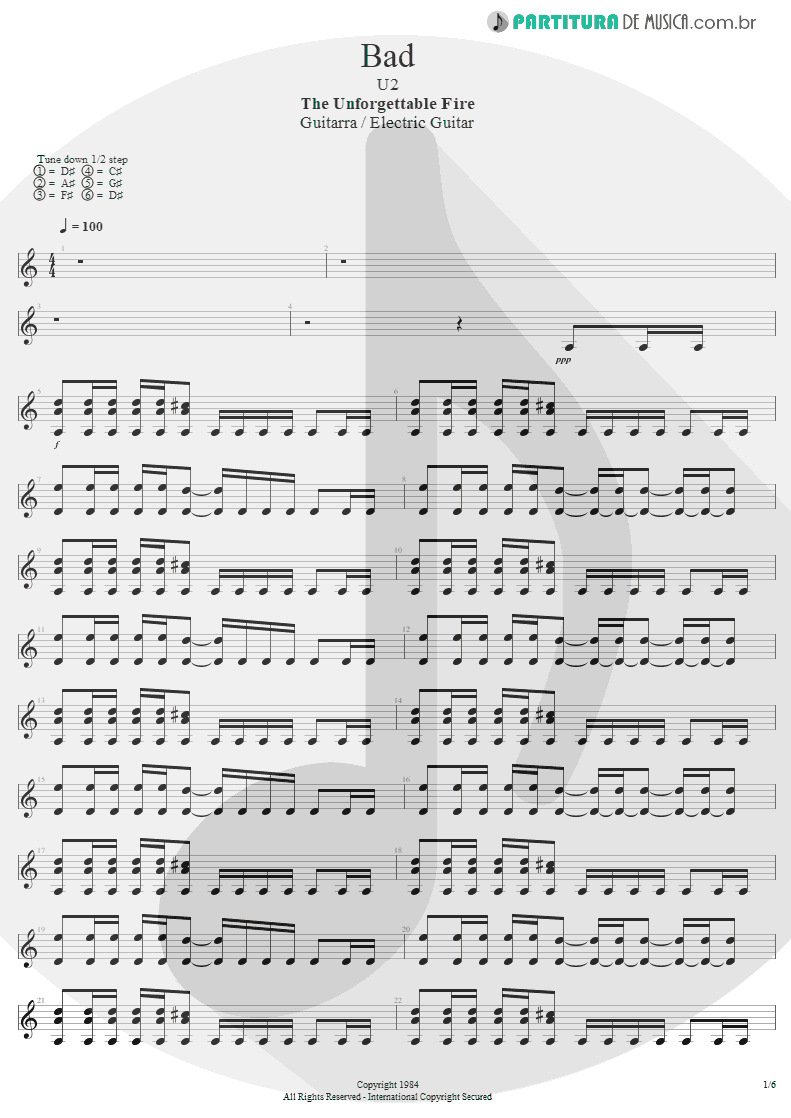 Partitura de musica de Guitarra Elétrica - Bad | U2 | The Unforgettable Fire 1984 - pag 1