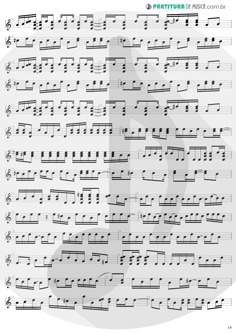 Partitura de musica de Guitarra Elétrica - Bad | U2 | The Unforgettable Fire 1984 - pag 5